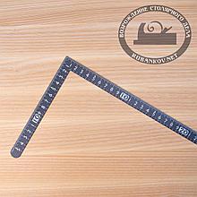 Угольник плоский Shinwa, 300*150мм, черный, отсчёт нижней шкалы - от наружнего угла с шагом 5мм