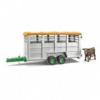 Bruder Игрушечный Прицеп для перевозки животных с коровой (Брудер)