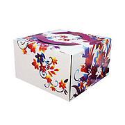 "Коробка для торта 4 кг цветная 350х350х200 с рис ""Весенняя"" с ручками , 25 шт"