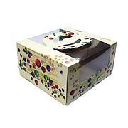 """Коробка для торта цветная 1,2 кг 230х220х120 с рис """"Шарики"""", 150 шт"""
