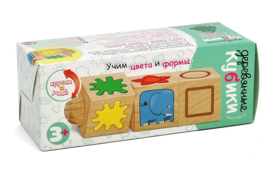 """Кубики деревянные на оси """"Учим цвета и формы"""" (3 кубика)"""