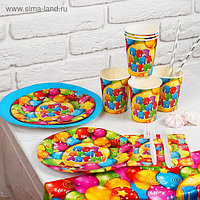 Набор бумажной посуды «Яркий праздник», 6 стаканов, 9 тарелок, 6 салфеток, скатерть, столовые приборы