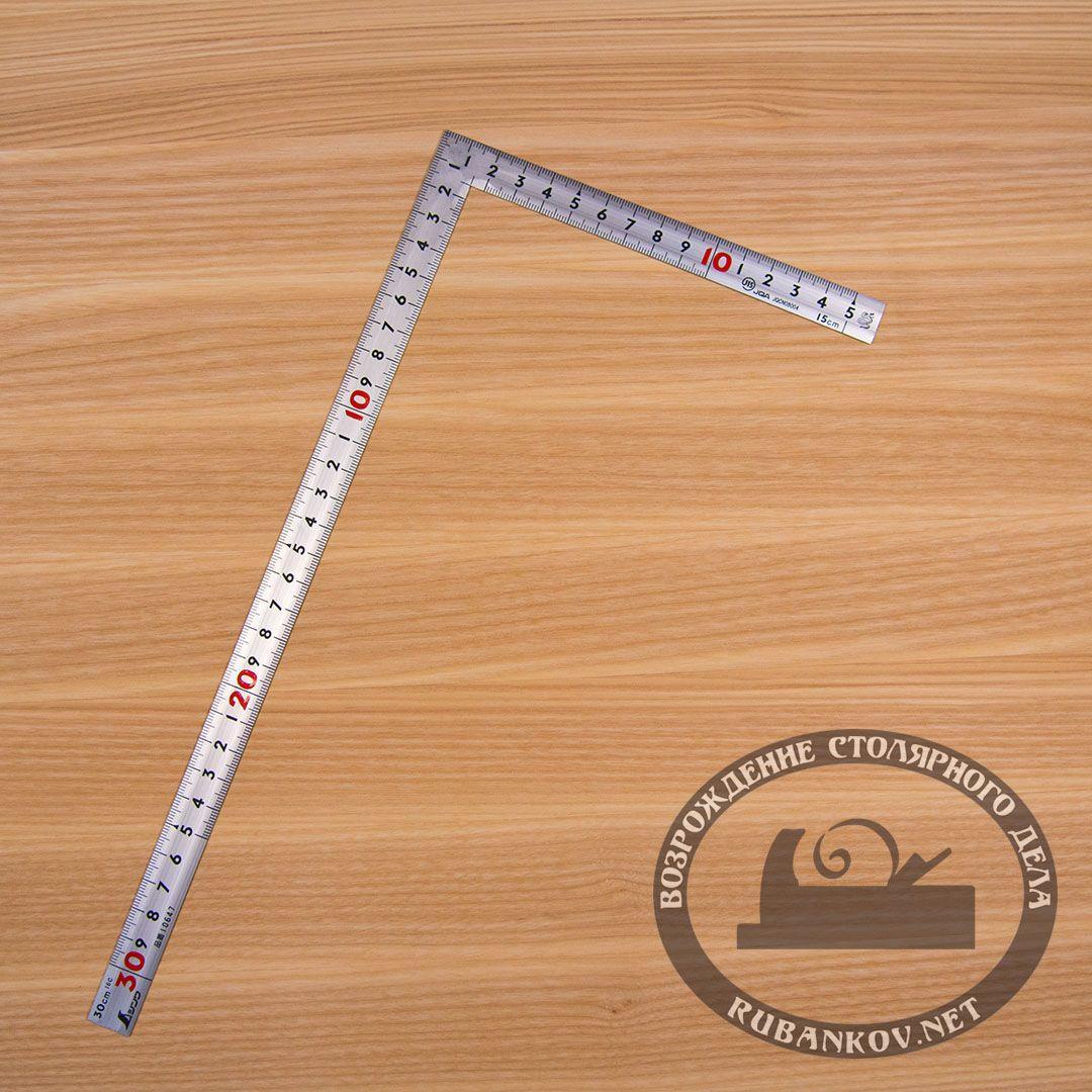 Угольник плоский Shinwa, 300*150мм, фигурный профиль, отсчёт нижней шкалы - от наружнего угла