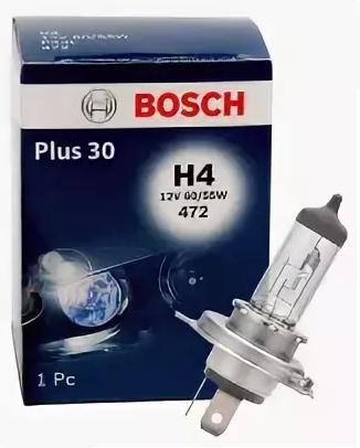 Галогеновые лампы Bosch H4 Plus30 12v 60/55w 1987302042 1лампа