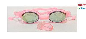 Очки для плавания GF-SPORT (с затычками для ушей и носа, цвет розовый)