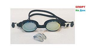 Очки для плавания GF-SPORT (с затычками для ушей и носа, цвет черный)
