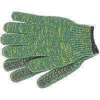 Перчатки трикотажные усиленне, цвет зеленый, гелевое ПВХ-покрытие, 7 класс, Россия Сибртех 68184