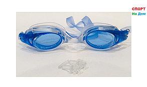 Очки для плавания GF-SPORT (с затычкой для носа, цвет синий), фото 2