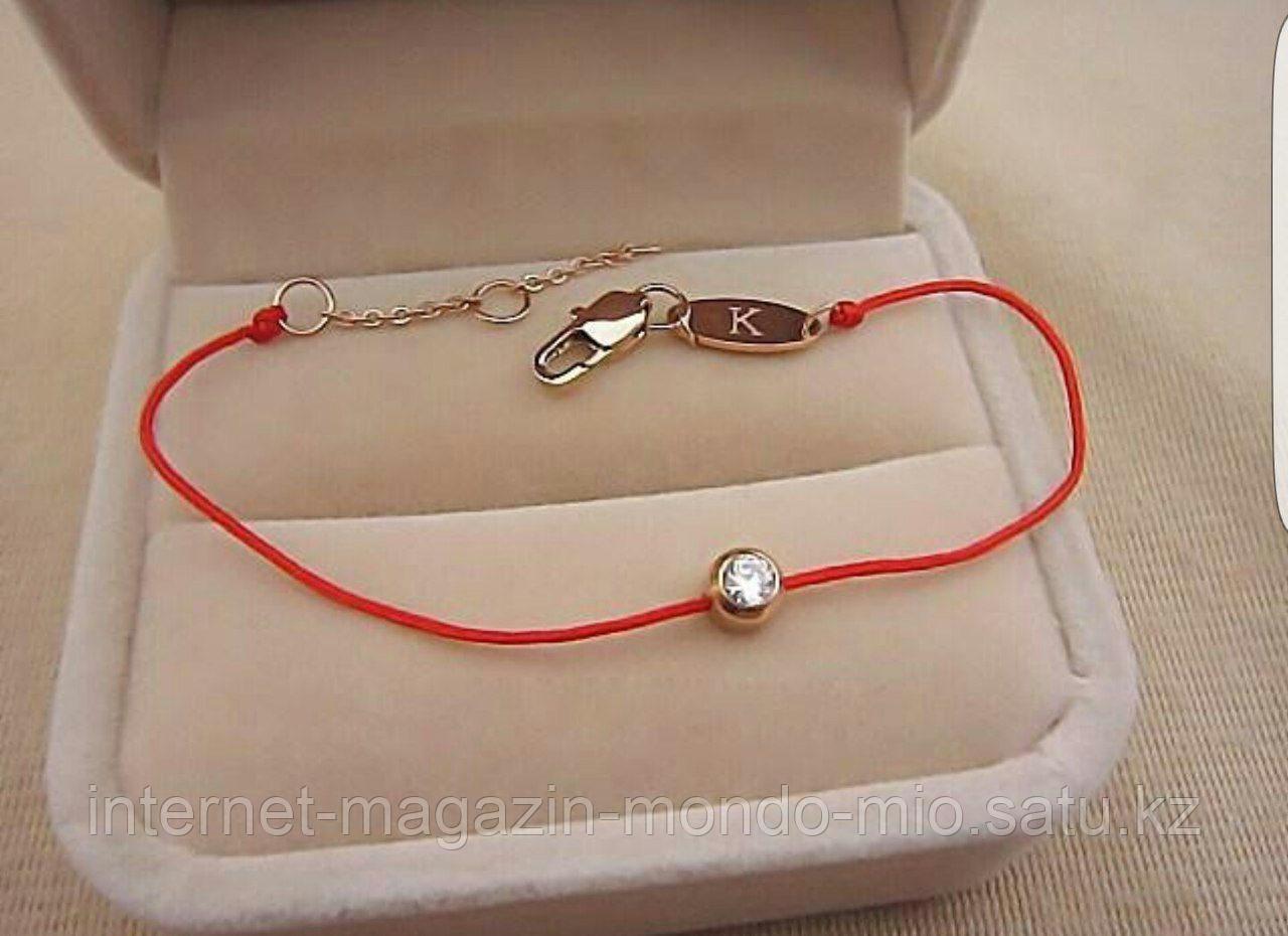 Красная нить желаний с цирконом (оберег).