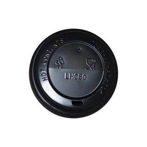 Крышка д/стаканов, д/хол./гор., d 80мм, чёрн., ПС, 1000 шт, фото 2