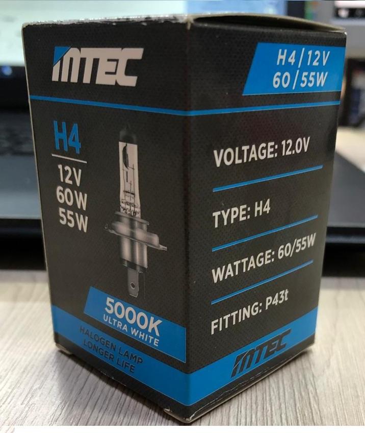 Галогеновая Лампа MTEC H4 12V 60/55W 5000K P43t 1 лампа