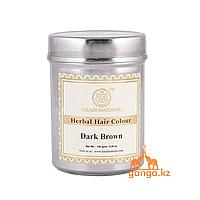 Хна для волос натуральная Темно-коричнева 100% (Herbal Hair Color Dark Brown KHADI), 150 гр.