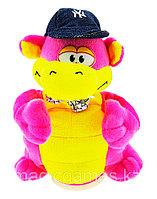 Мягкая Игрушка Дракон с кепкой танцующий музыкальный розовый, фото 1