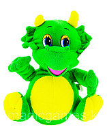 Мягкая Игрушка Дракон с рогами танцующий музыкальный зеленый
