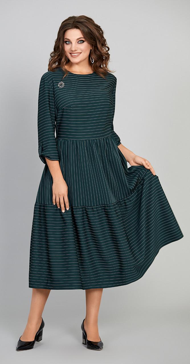 Платье Olga Style- С423/1, зеленая полоска, 56