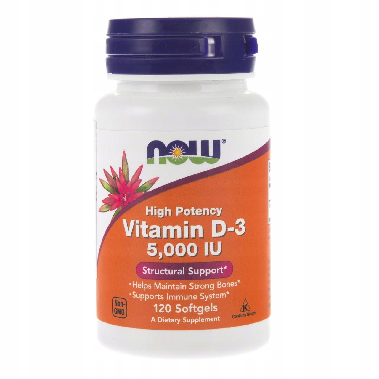 Витамин D-3, 5000 МЕ, Now Foods, 120 капсул