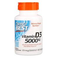Doctor's Best, Витамин D3, 125 мкг (5000 МЕ), 180 мягких таблеток