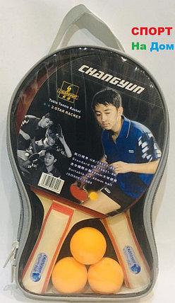 2 Ракетки для настольного тенниса Changyun + 3 шарика в подарок, фото 2
