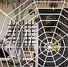 Декоративная большая паутина на Хэллоуин круглая (белая и черная), 50 см, фото 3