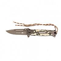 Нож туристический,складной 220мм/90мм системы Liner-Lock,с накладкой G10 на рук-ке+стеклобой Барс, 79202