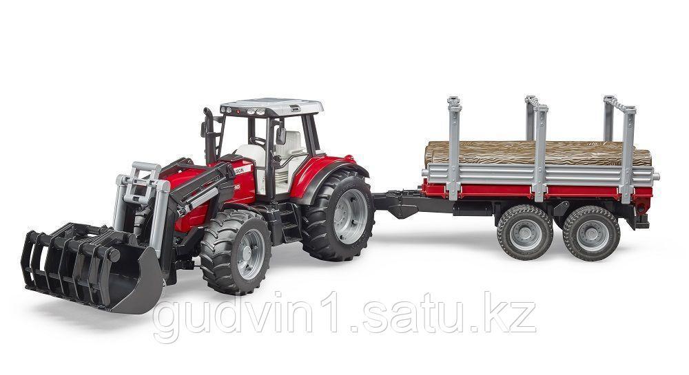 Трактор Massey Ferguson c манипулятором и прицепом Артикул №02-046