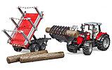 Трактор Massey Ferguson c манипулятором и прицепом Артикул №02-046, фото 3