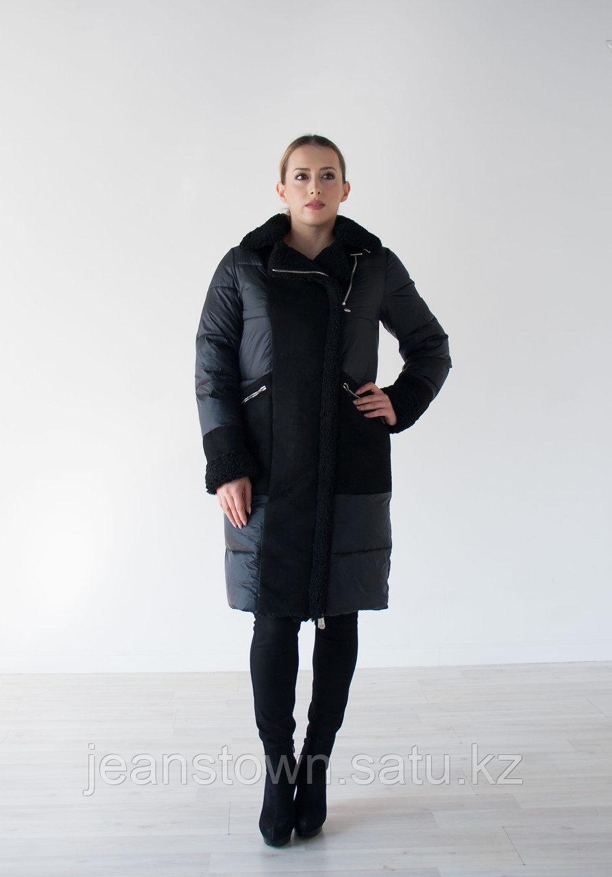 Куртка женская зимняя Evacana черная , длинная