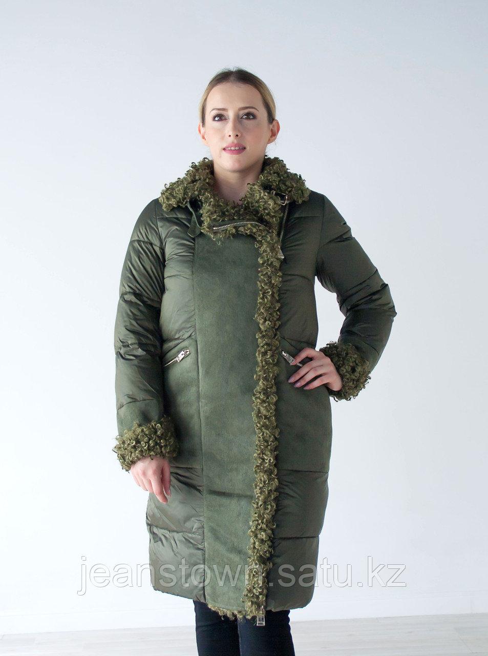 Куртка женская зимняя Evacana зеленая , длинная