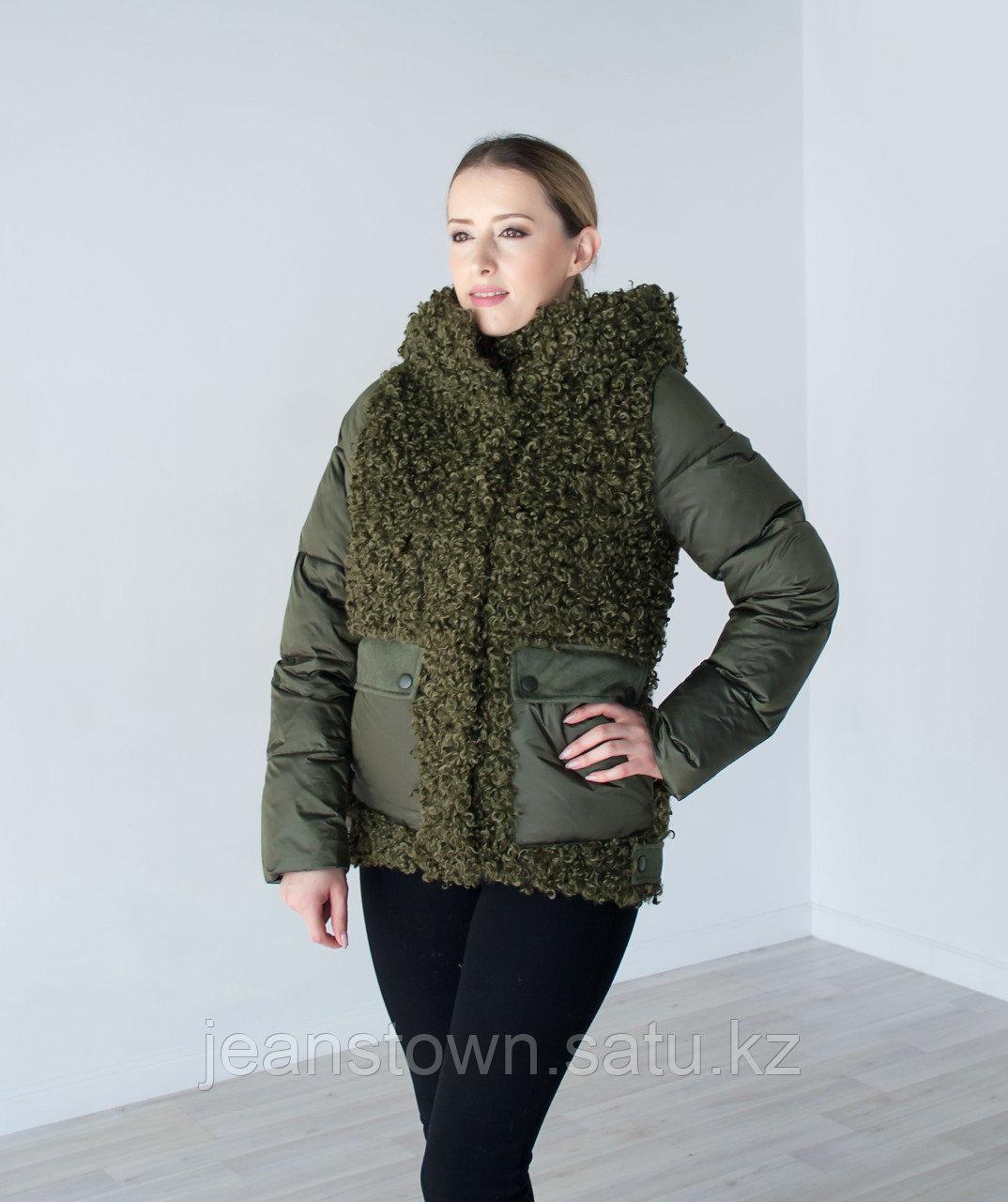 Куртка женская зимняя Evacana зеленая , короткая