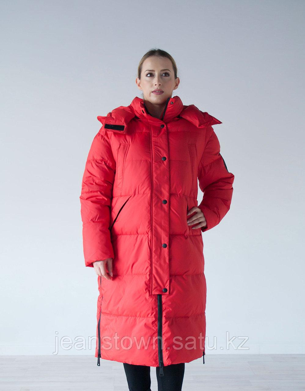 Куртка женская зимняя Evacana длинная, красная
