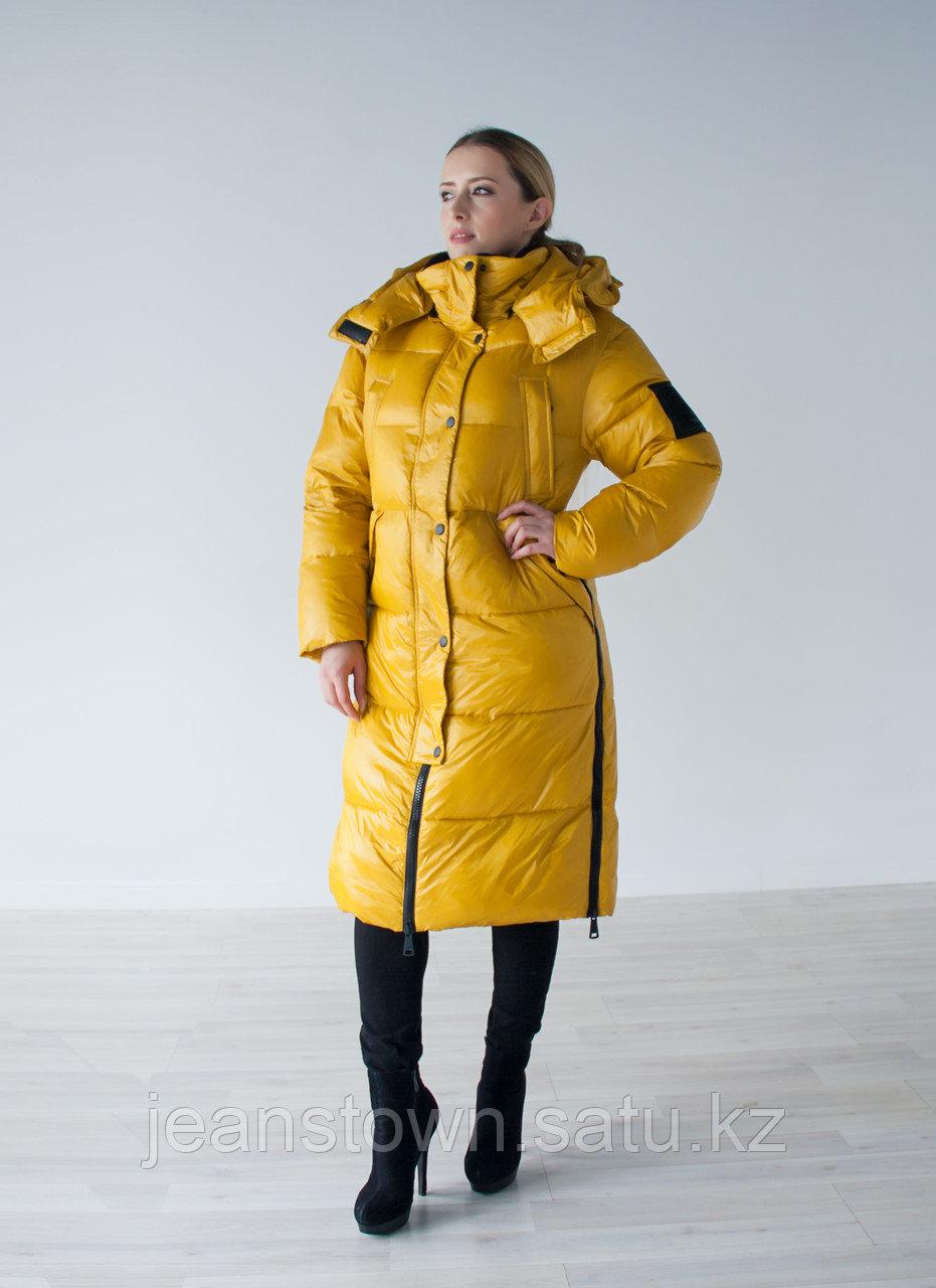 Куртка женская зимняя Evacana длинная, желтая