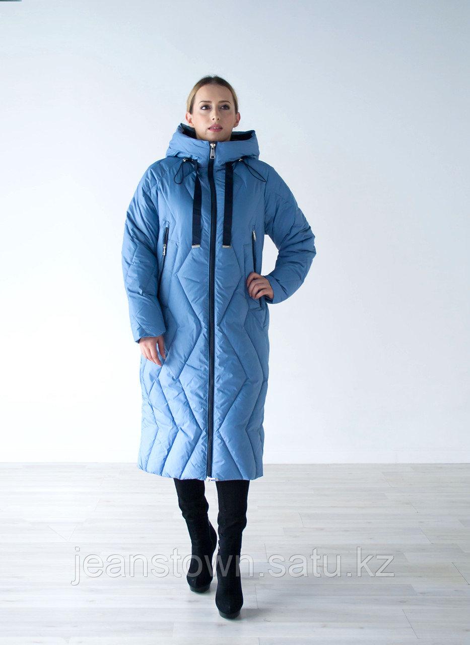 Куртка женская зимняя Evacana длинная, голубая