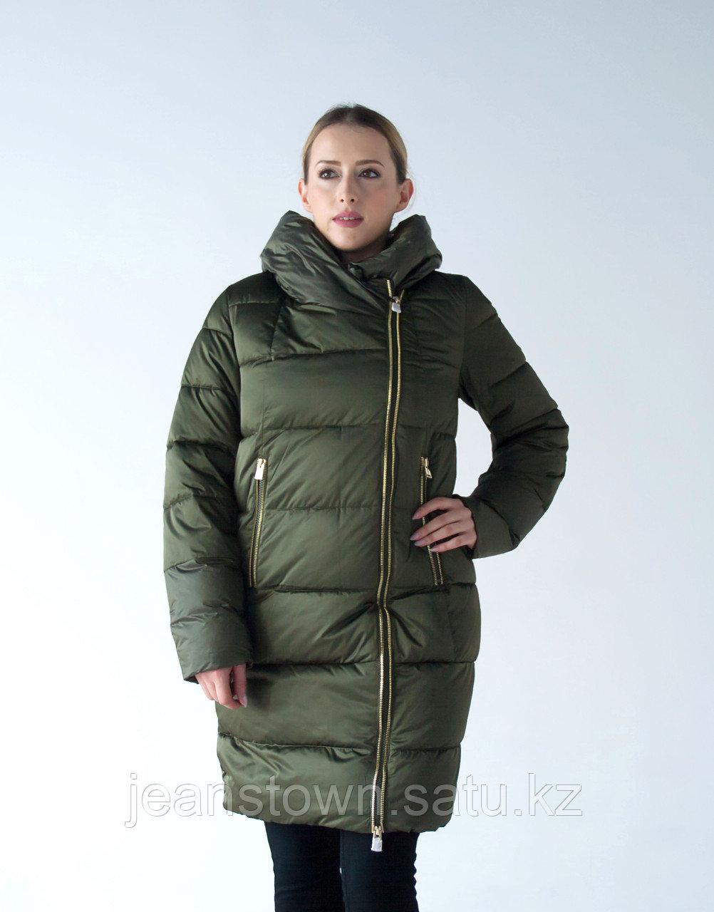 Куртка женская зимняя Evacana длинная, зеленая