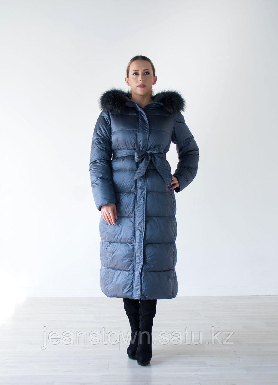 Куртка женская зимняя Evacana длинная, натуральный мех енота на капюшоне