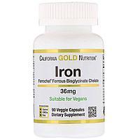 California Gold Nutrition, Железо зелатн. 36 мг, 90 капсул