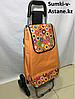 Хозяйственная сумка на колесах, со складным стулом. Высота 95 см, длина 42 см, ширина 49 см.