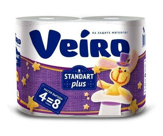 Бумага туалетная 2сл. 4шт. VEIRO Standart Plus, 4 шт, фото 2