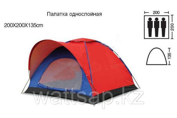 Палатка туристическая трехместная с козырьком SY-010, 2х2х1,35 м