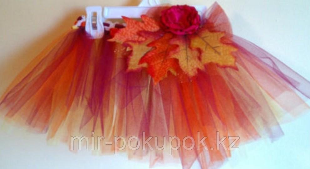 Пышная юбка-пачка с осенними листьями для девочек