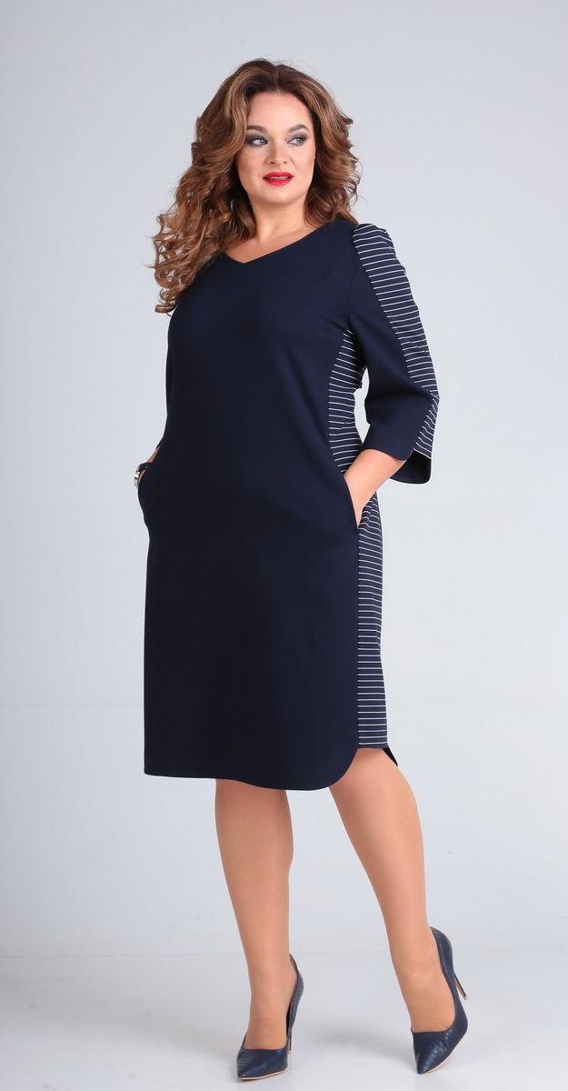 Платье Andrea Style-00215, темно-синий, 56
