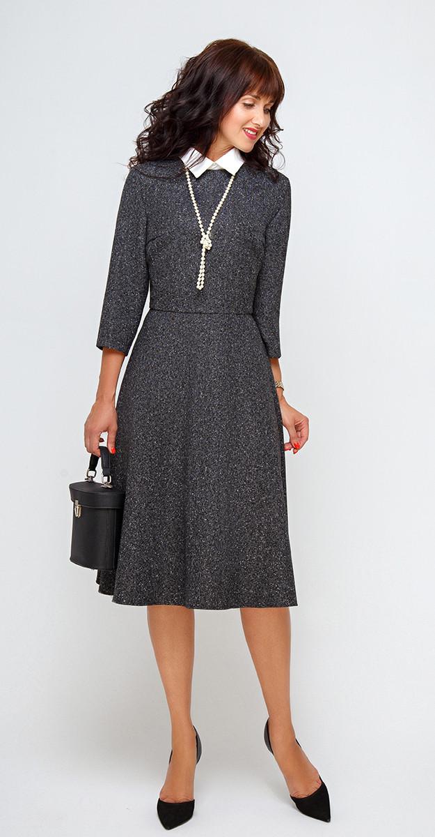 Платье Swallow-204, чёрный с молочным вкраплением, 46