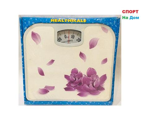 Весы напольные механические Health Scale (цвет белый с цветами), фото 2