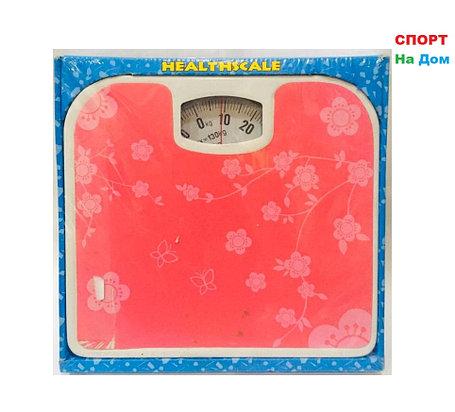 Весы напольные механические Health Scale (цвет розовый с цветами), фото 2