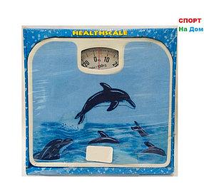 Весы напольные механические Health Scale (цвет голубой с дельфинами)