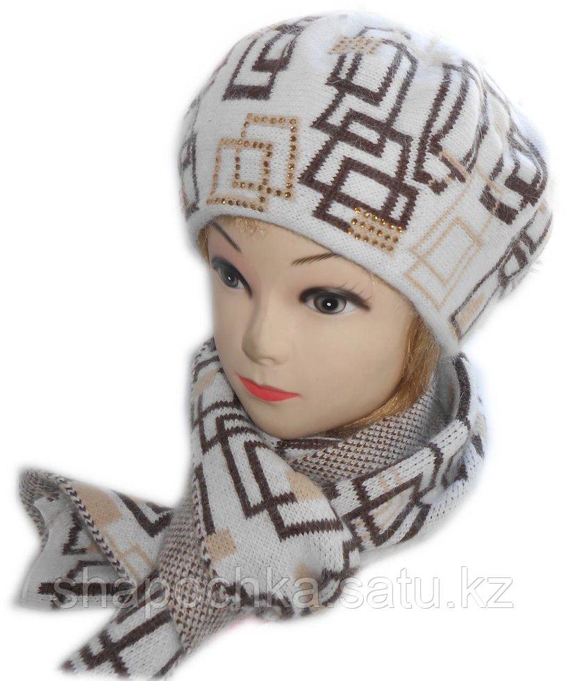 Берет + шарф Su pandan узор 8350