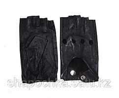 Перчатки жен. без пальцев кожа Серый