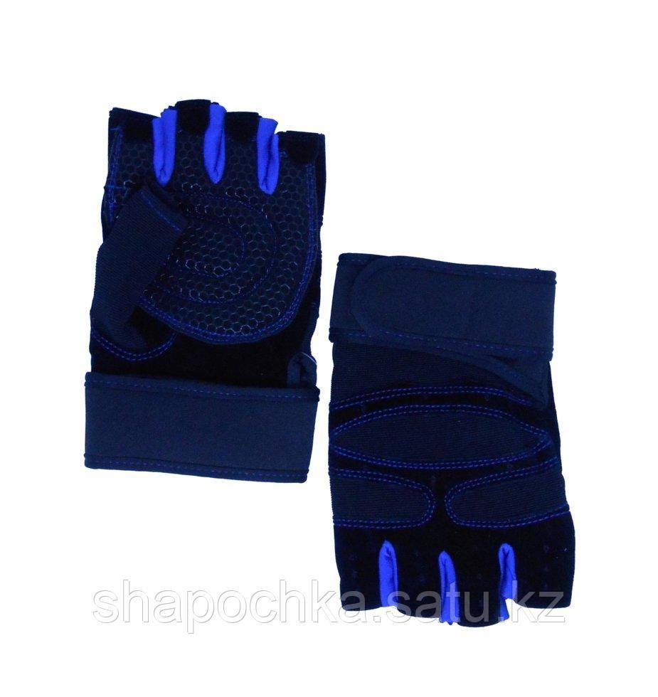 Перчатки спорт без пальцев с напульсником