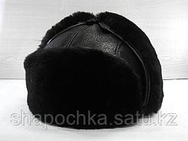 Ушанка овчина круглая черная