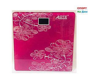 Весы напольные электронные Aote (цвет розовый с цветами)