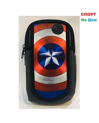 Сумка на руку для бега Капитан Америка (цвет черный и серый), фото 2
